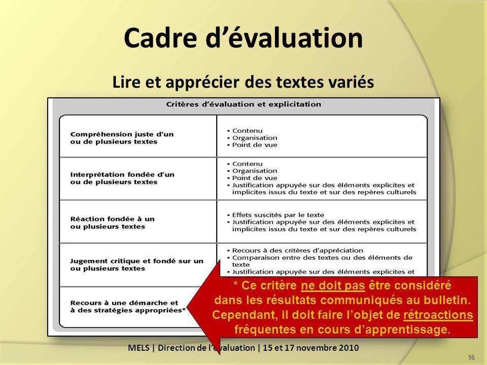 Cadre d'évaluation Lire et apprécier des textes variés