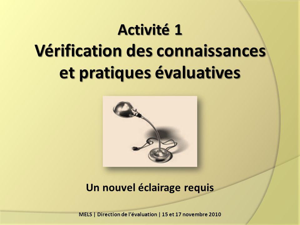 Activité 1 Vérification des connaissances et pratiques évaluatives