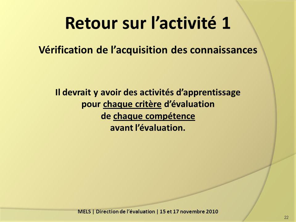 Retour sur l'activité 1 Vérification de l'acquisition des connaissances. Il devrait y avoir des activités d'apprentissage.