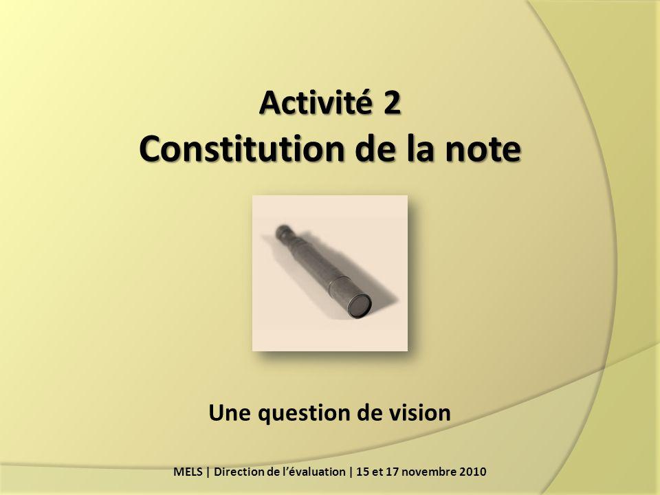 Activité 2 Constitution de la note
