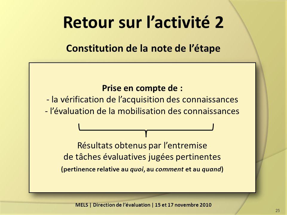 Retour sur l'activité 2 Constitution de la note de l'étape
