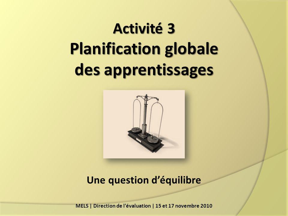 Activité 3 Planification globale des apprentissages