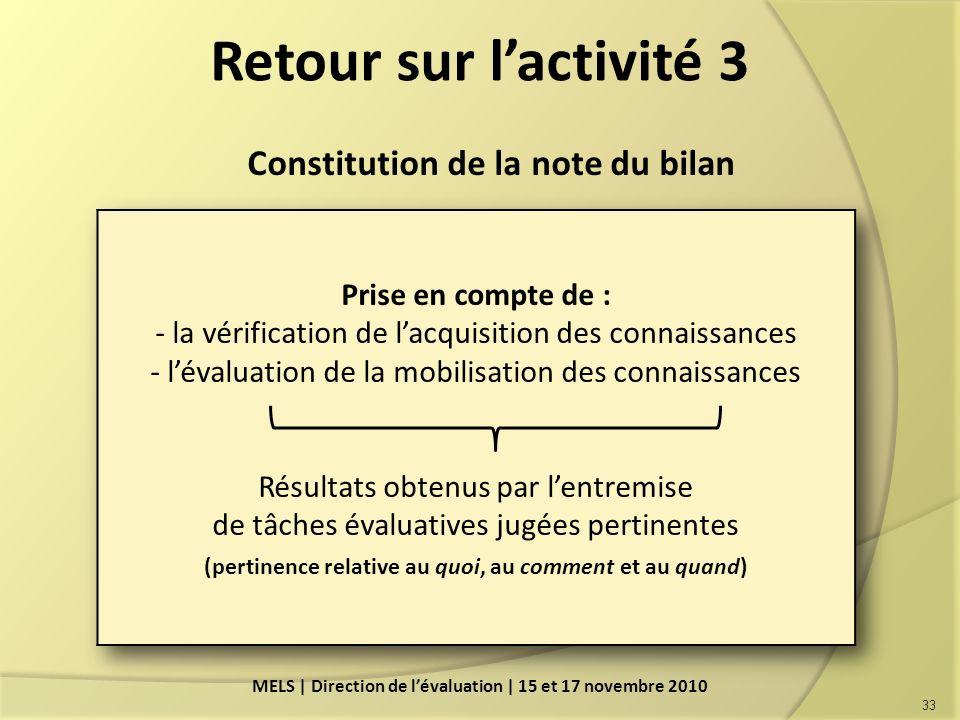 Retour sur l'activité 3 Constitution de la note du bilan