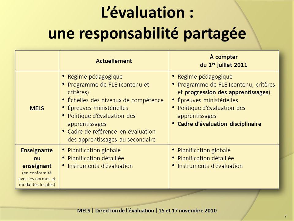 L'évaluation : une responsabilité partagée