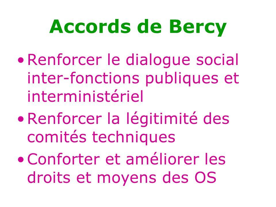 Accords de Bercy Renforcer le dialogue social inter-fonctions publiques et interministériel. Renforcer la légitimité des comités techniques.