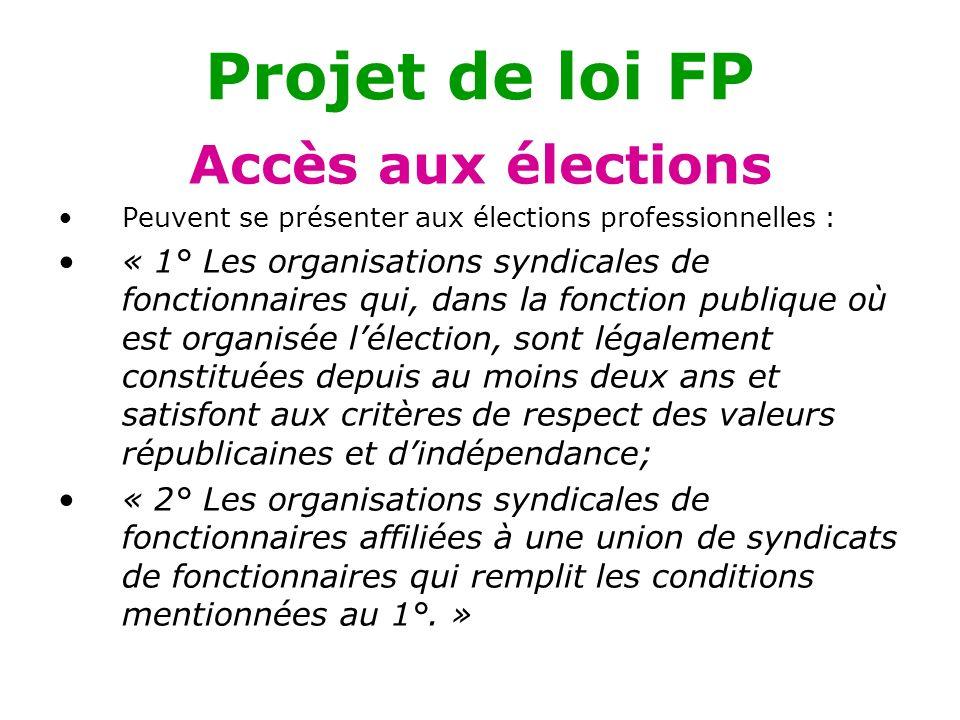 Projet de loi FP Accès aux élections
