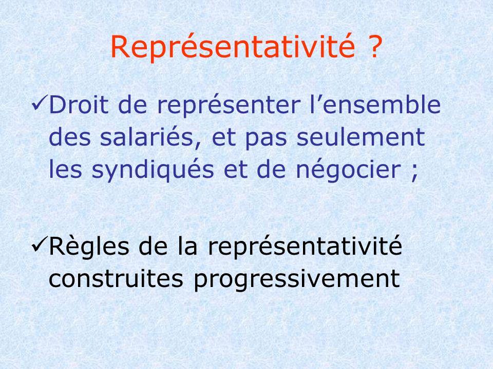 Représentativité Droit de représenter l'ensemble des salariés, et pas seulement les syndiqués et de négocier ;
