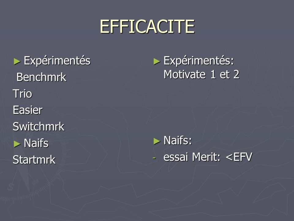 EFFICACITE Expérimentés Benchmrk Trio Easier Switchmrk Naifs Startmrk