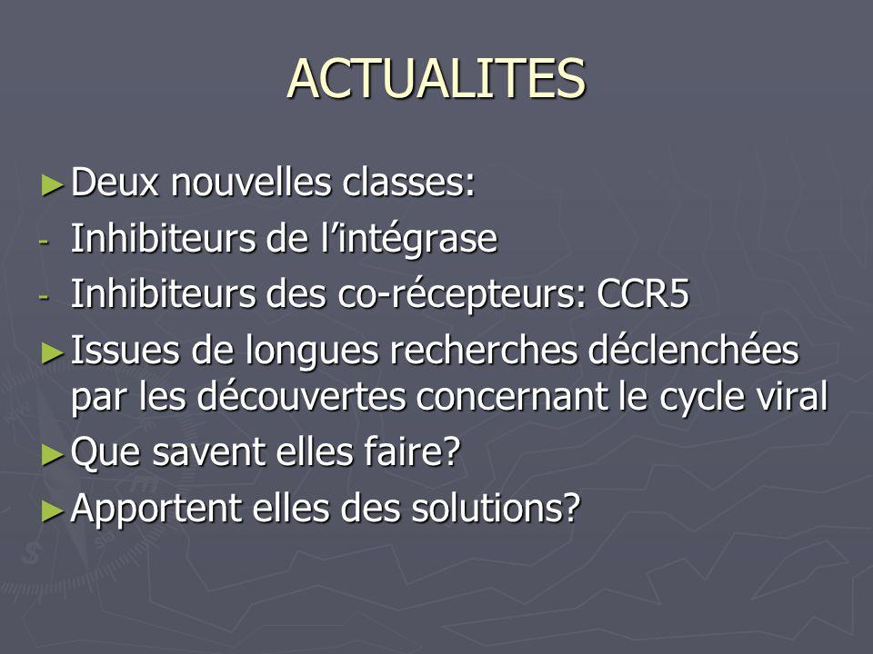 ACTUALITES Deux nouvelles classes: Inhibiteurs de l'intégrase