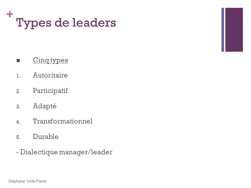 Types de leaders Cinq types Autoritaire Participatif Adapté