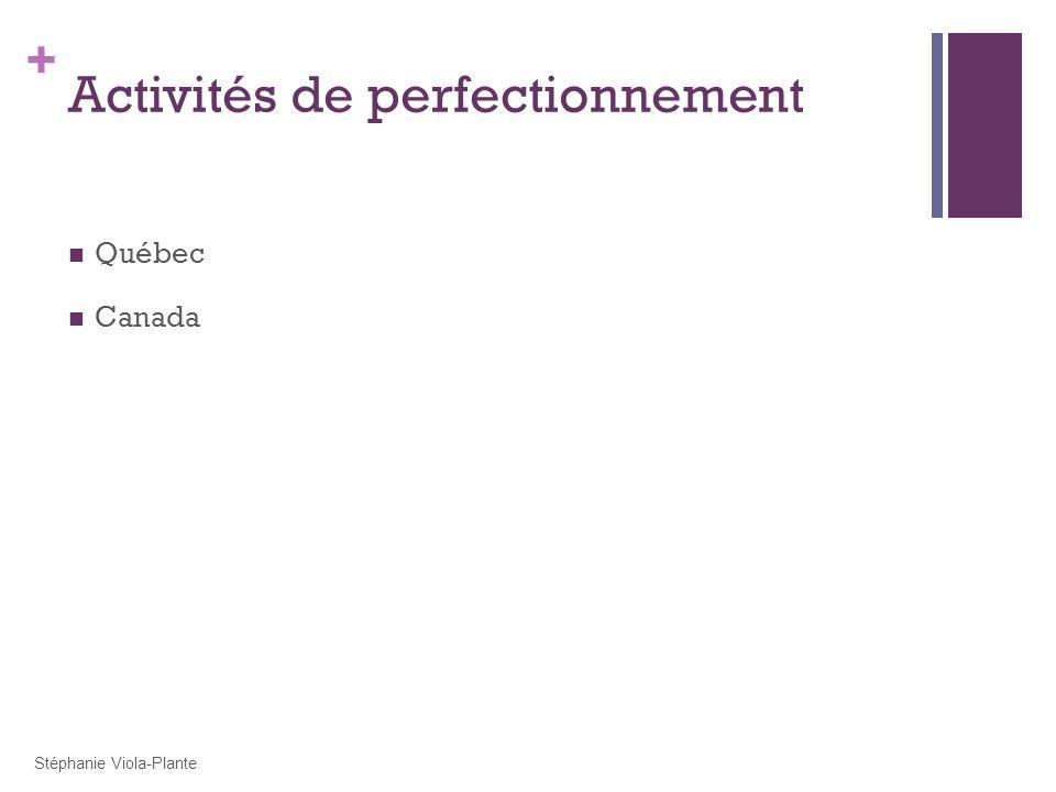 Activités de perfectionnement