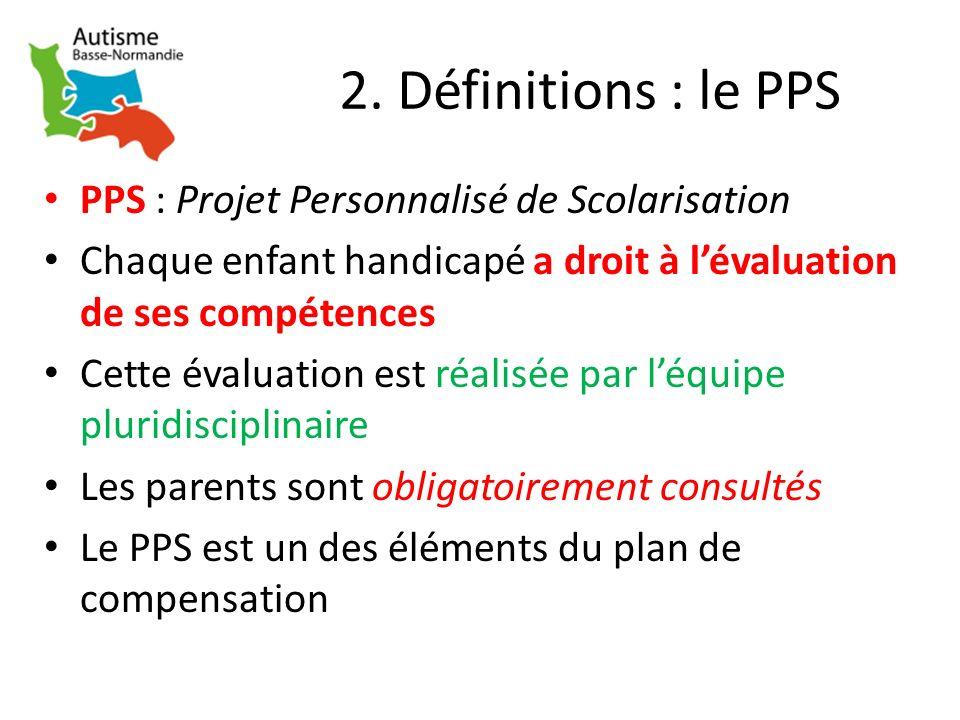 2. Définitions : le PPS PPS : Projet Personnalisé de Scolarisation
