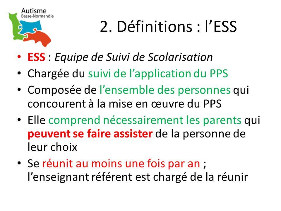 2. Définitions : l'ESS ESS : Equipe de Suivi de Scolarisation