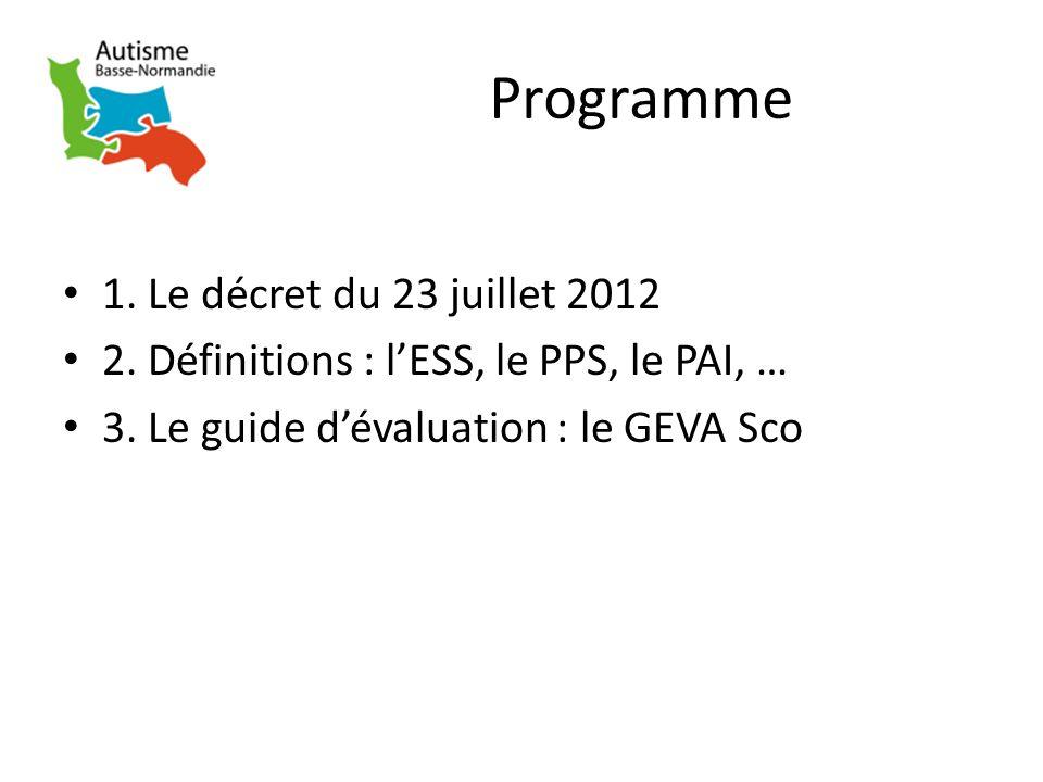 Programme 1. Le décret du 23 juillet 2012