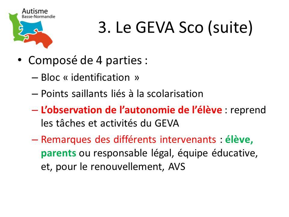 3. Le GEVA Sco (suite) Composé de 4 parties : Bloc « identification »