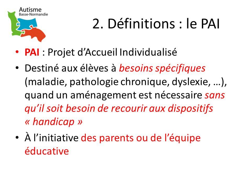 2. Définitions : le PAI PAI : Projet d'Accueil Individualisé