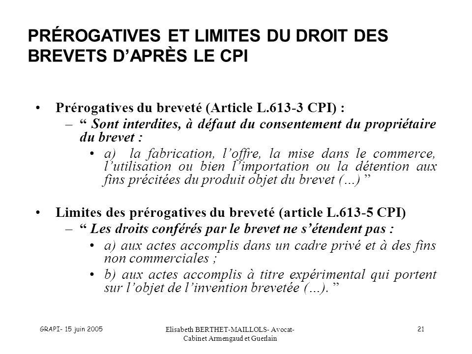 PRÉROGATIVES ET LIMITES DU DROIT DES BREVETS D'APRÈS LE CPI