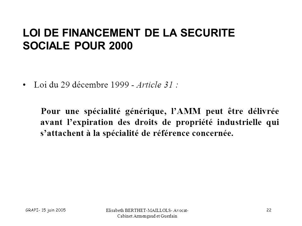 LOI DE FINANCEMENT DE LA SECURITE SOCIALE POUR 2000