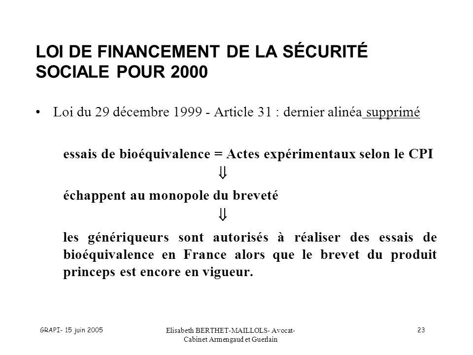 LOI DE FINANCEMENT DE LA SÉCURITÉ SOCIALE POUR 2000