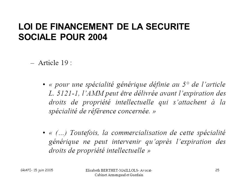 LOI DE FINANCEMENT DE LA SECURITE SOCIALE POUR 2004