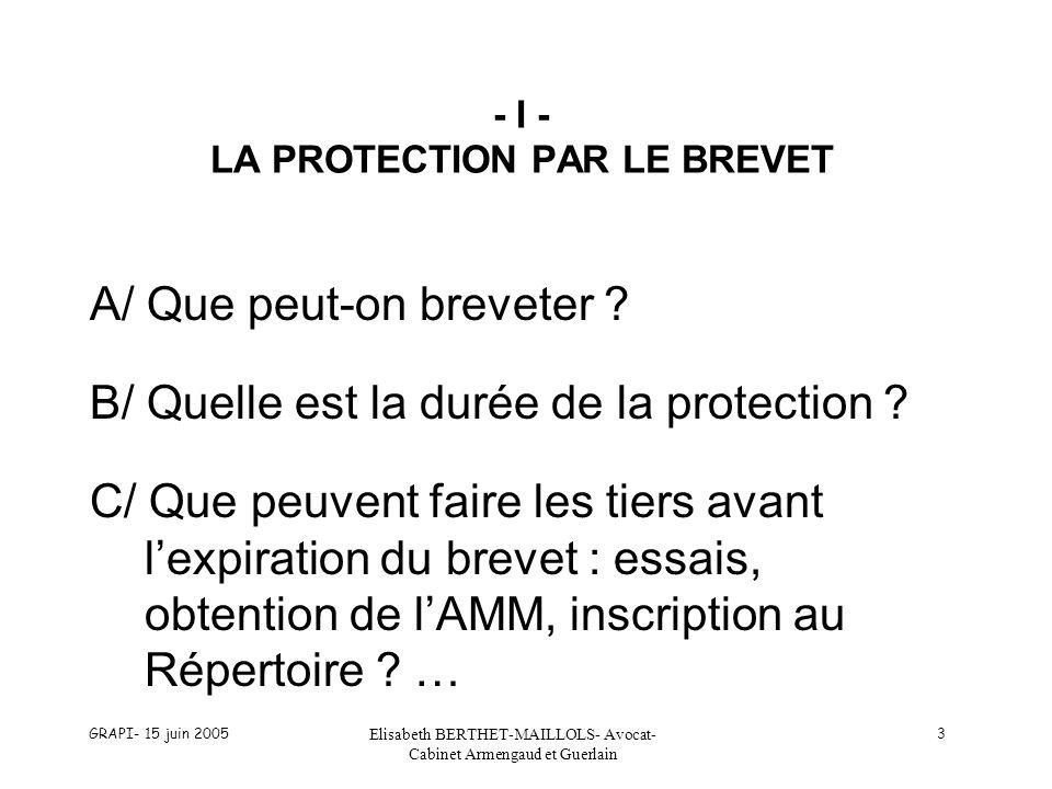 - I - LA PROTECTION PAR LE BREVET