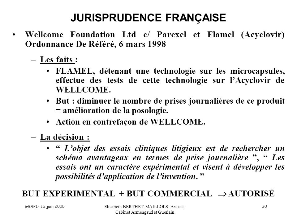 JURISPRUDENCE FRANÇAISE