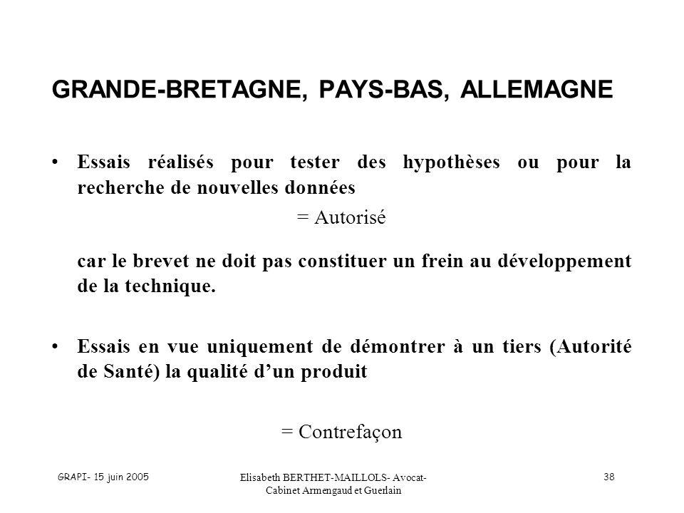 GRANDE-BRETAGNE, PAYS-BAS, ALLEMAGNE