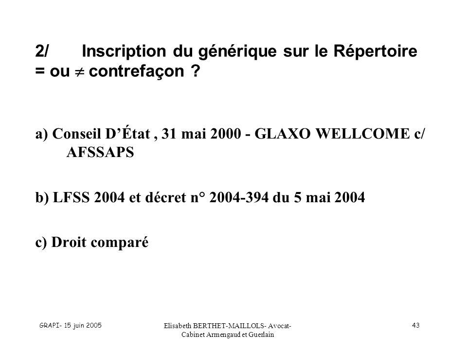 2/ Inscription du générique sur le Répertoire = ou  contrefaçon