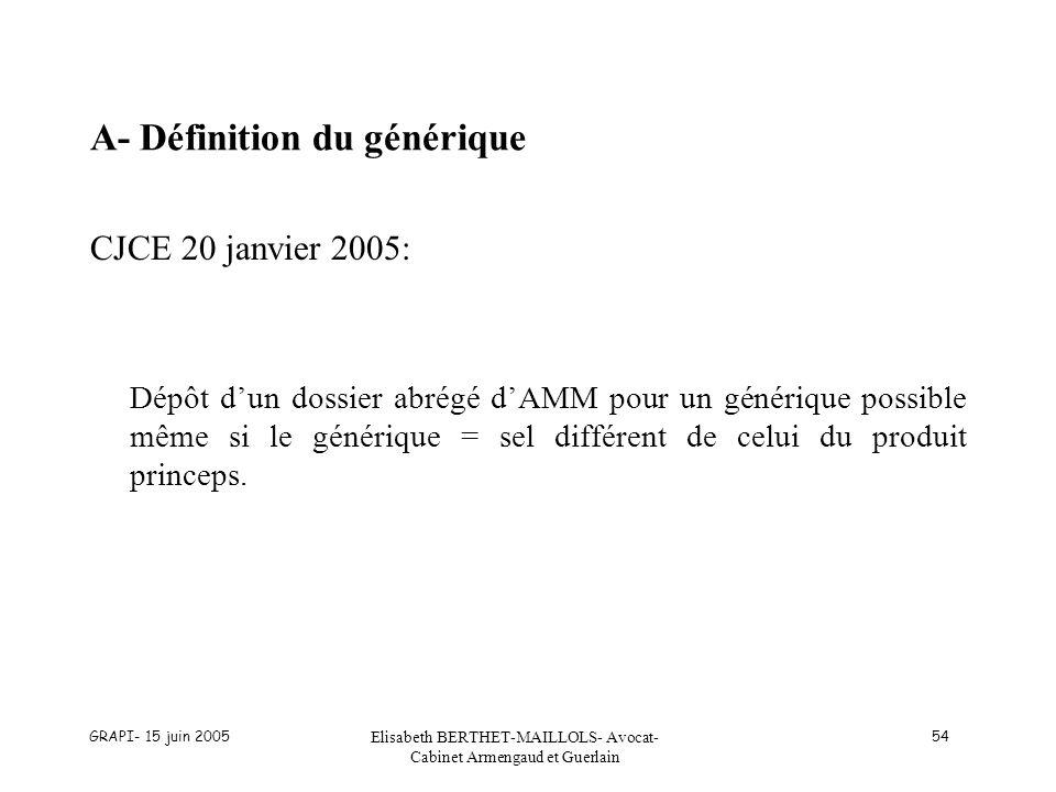 A- Définition du générique