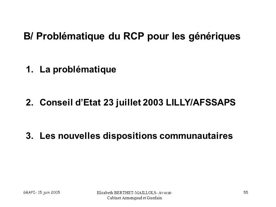 B/ Problématique du RCP pour les génériques