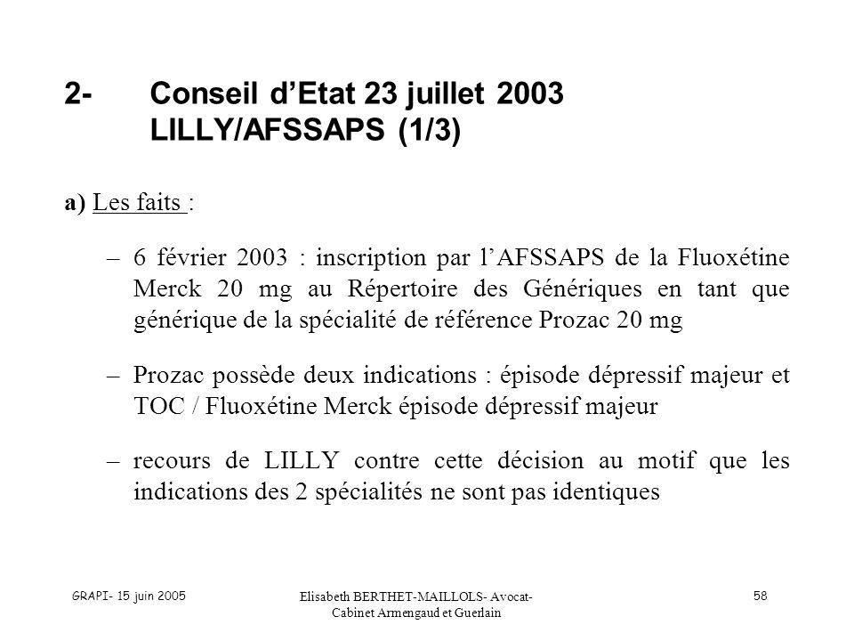 2- Conseil d'Etat 23 juillet 2003 LILLY/AFSSAPS (1/3)