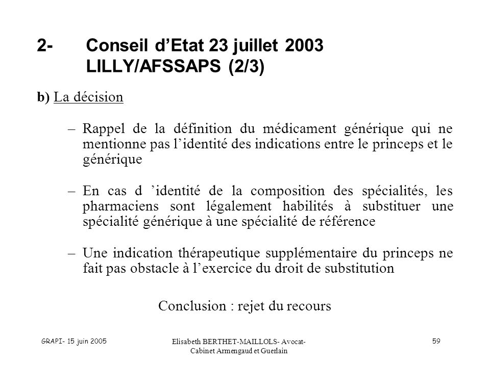 2- Conseil d'Etat 23 juillet 2003 LILLY/AFSSAPS (2/3)