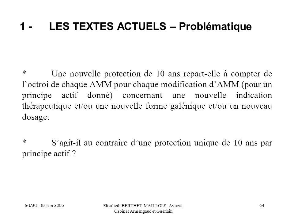 1 - LES TEXTES ACTUELS – Problématique