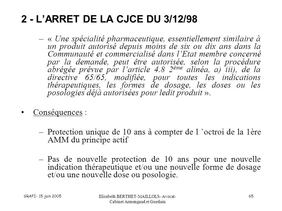 2 - L'ARRET DE LA CJCE DU 3/12/98