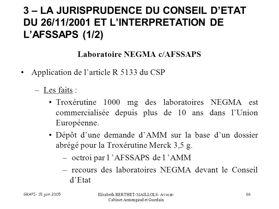 Laboratoire NEGMA c/AFSSAPS