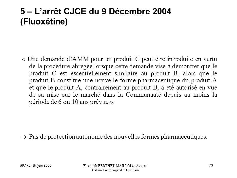 5 – L'arrêt CJCE du 9 Décembre 2004 (Fluoxétine)