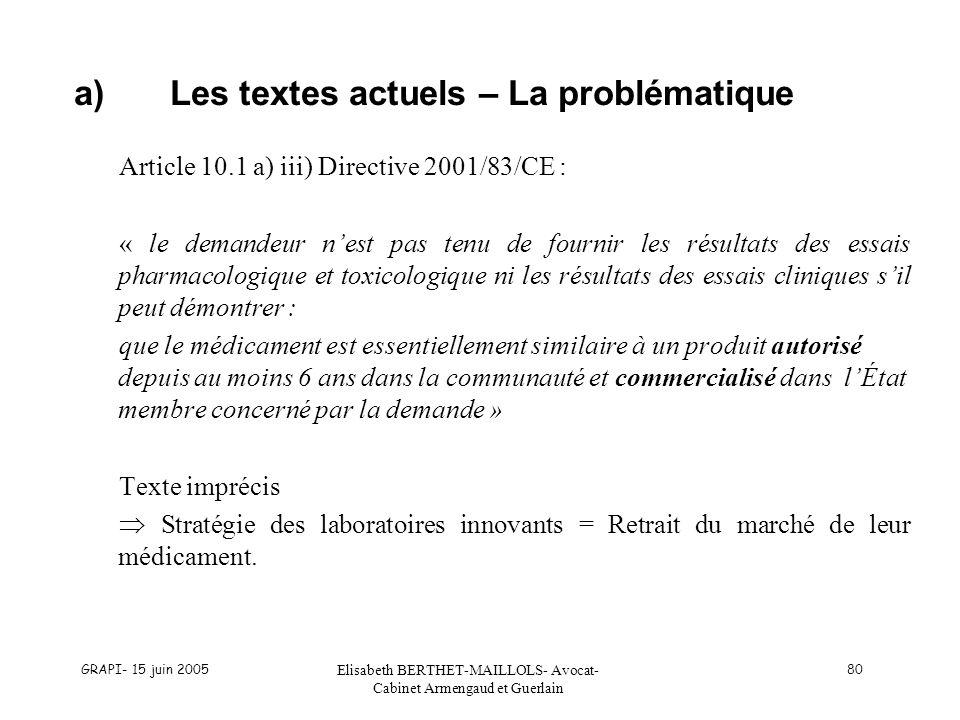 a) Les textes actuels – La problématique