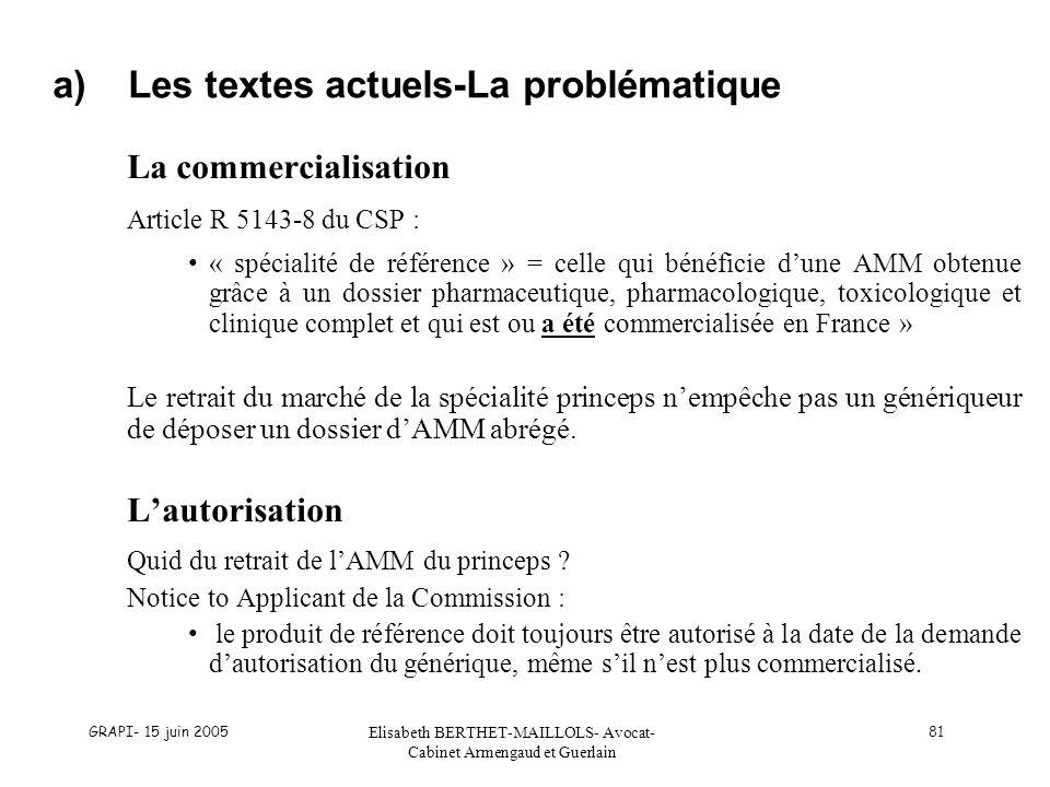 a) Les textes actuels-La problématique