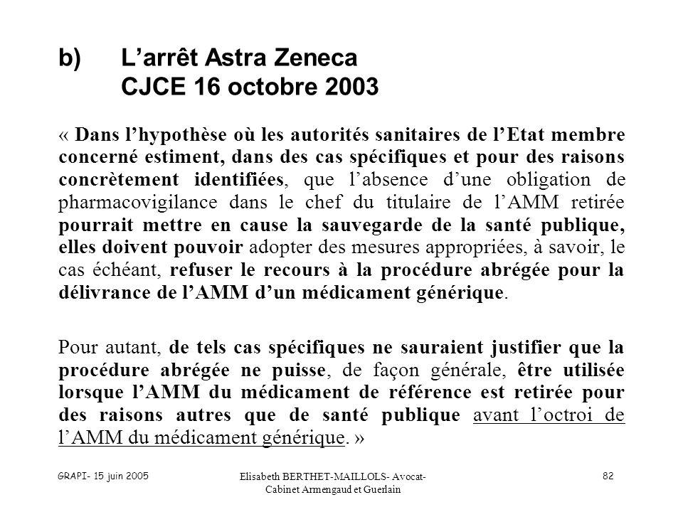 b) L'arrêt Astra Zeneca CJCE 16 octobre 2003