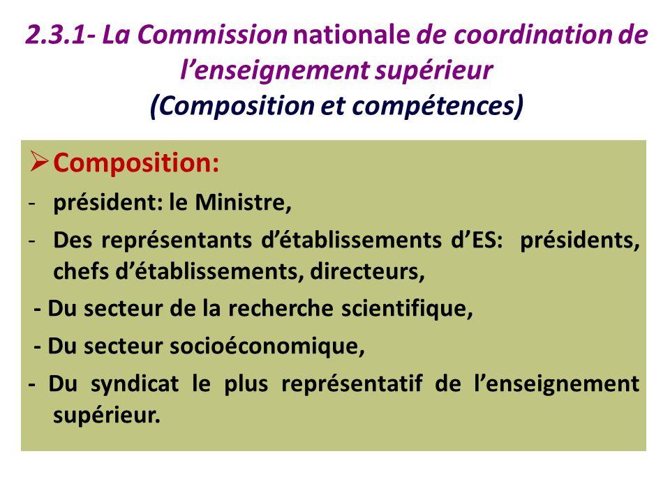 2.3.1- La Commission nationale de coordination de l'enseignement supérieur (Composition et compétences)