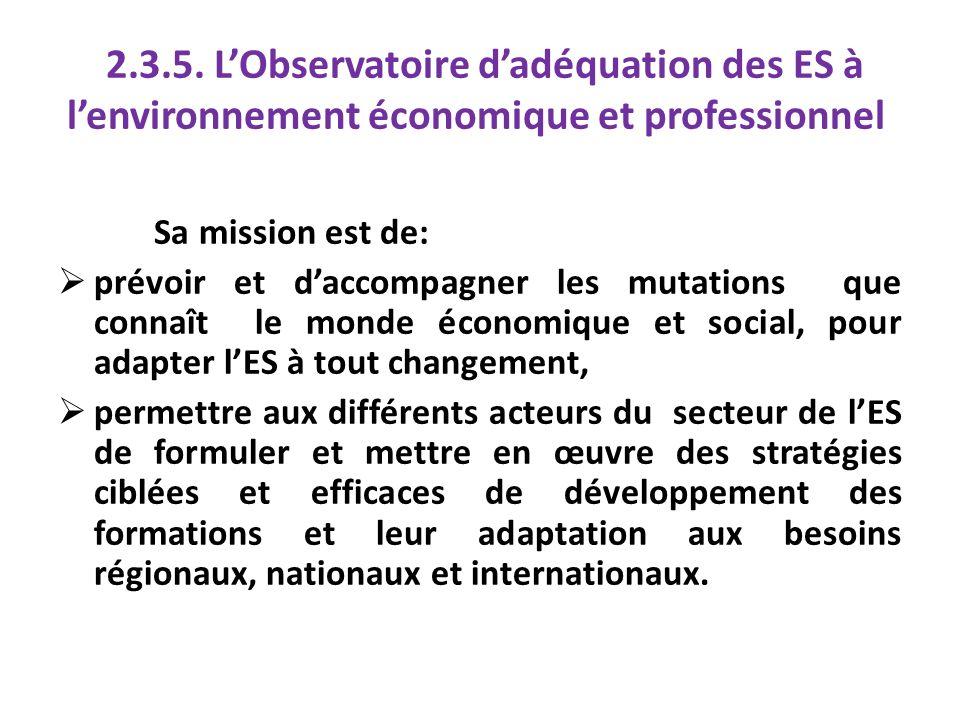2.3.5. L'Observatoire d'adéquation des ES à l'environnement économique et professionnel