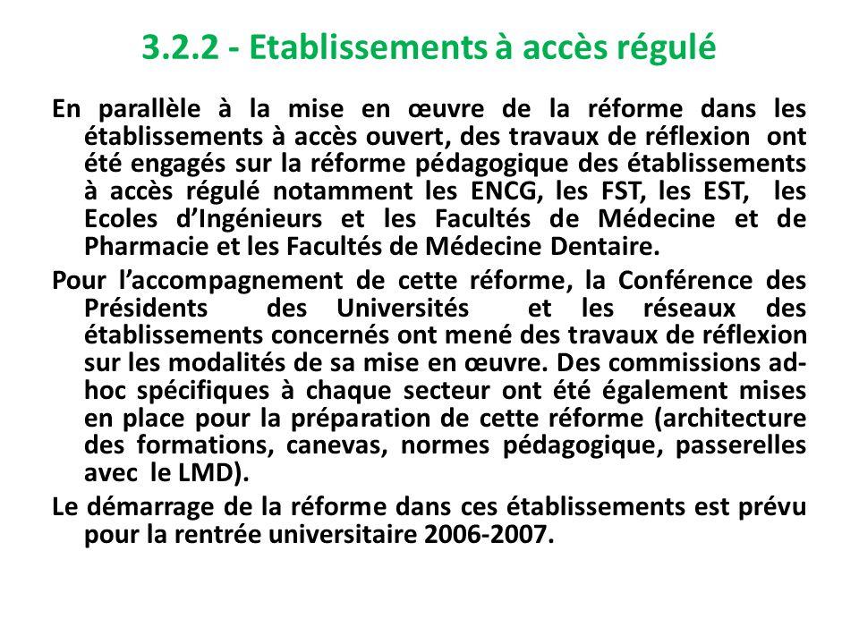 3.2.2 - Etablissements à accès régulé