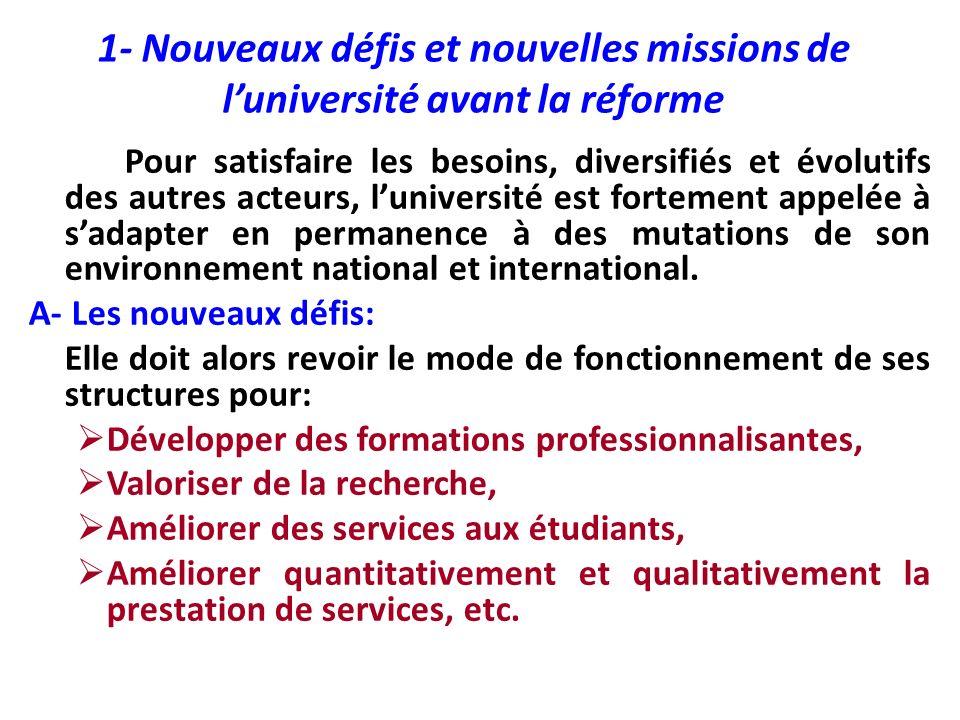 1- Nouveaux défis et nouvelles missions de l'université avant la réforme