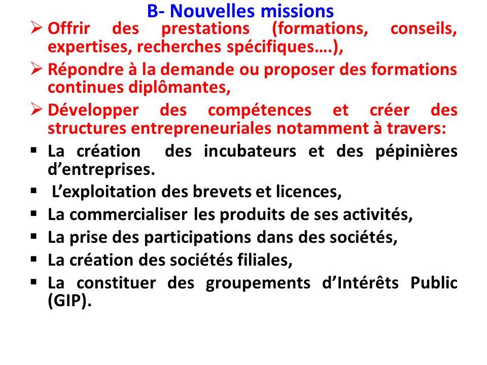 B- Nouvelles missions Offrir des prestations (formations, conseils, expertises, recherches spécifiques….),
