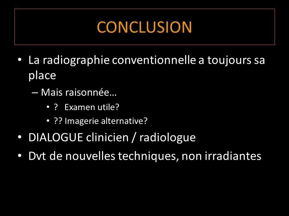 CONCLUSION La radiographie conventionnelle a toujours sa place