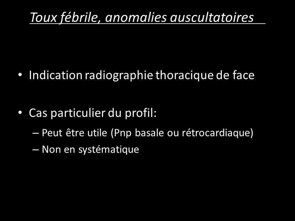 Toux fébrile, anomalies auscultatoires