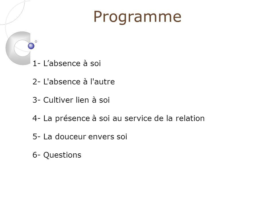 Programme 1- L'absence à soi 2- L absence à l autre