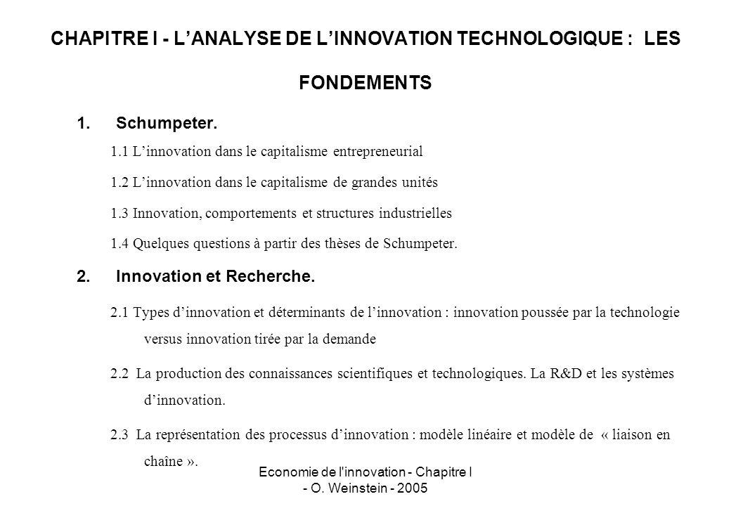 CHAPITRE I - L'ANALYSE DE L'INNOVATION TECHNOLOGIQUE : LES FONDEMENTS