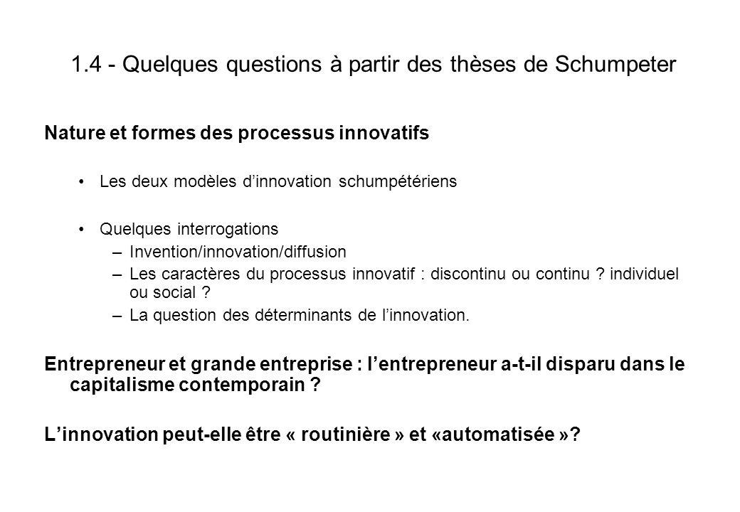 1.4 - Quelques questions à partir des thèses de Schumpeter