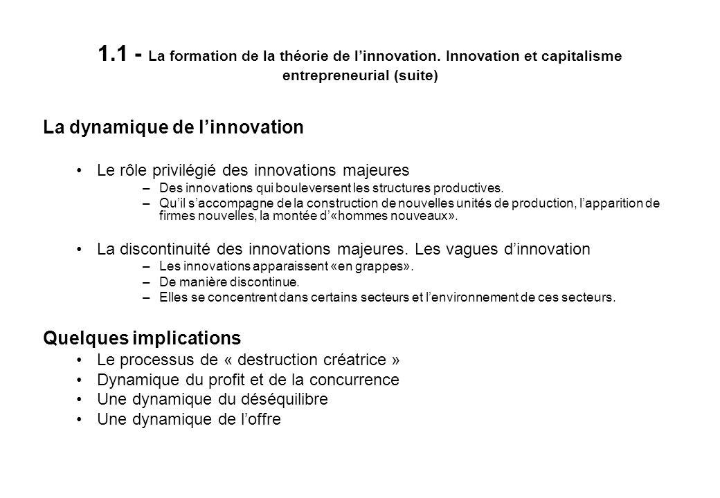 1. 1 - La formation de la théorie de l'innovation